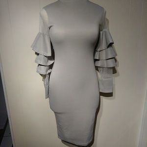 A gray fitted dress